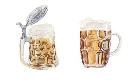 Hand painted watercolor set with mug and glass of beer isolated on white background. Oktoberfest concept. Design element for festival, shop, market, menu, cafe, restaurant, poster, banner and sticker.
