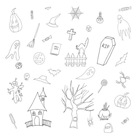 Hand drawn style outline vector set with Halloween illustrations and icons: pumpkin, ghost, cat, bat, candy. Isolated on white background.
