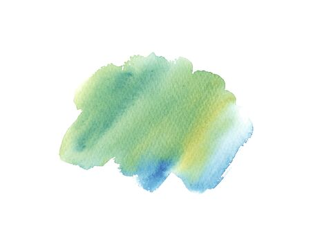 Hand painted abstract Watercolor Wet turquoise, green and blue brush stroke isolated on white background. Abstract painting. design for invitation, greeting card, wedding. empty space for text