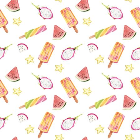 Seamless hand drawn Watercolor Pattern with Tropical fruit and ice cream. Exotic Karambol, pitaya and popsicle on white background. Design textile, cloth, greeting card, invitation, wrapping paper