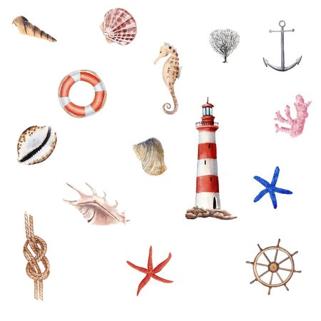 Hand Drawn watercolor nautical illustration set. lighthouse, Anchor, Knot, sea horse and sea shells isolated on white background. Element for design, poster, stiker, print