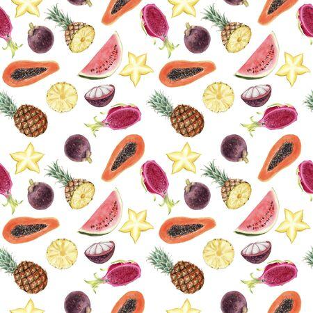 Seamless hand drawn Watercolor Tropical Pattern. Pineapple, karambol, papaya, mangosteen, pitaya exotic fruits on white background. Design textile, cloth, greeting card, invitation, wrapping paper Stockfoto