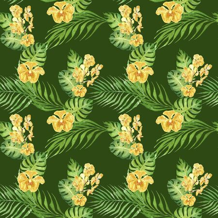 hand drawn watercolor floral tropical seamless pattern with yellow orchid flower and green monstera and palm leaves on green background. design for cloth, wrapping paper, wedding, invitation card