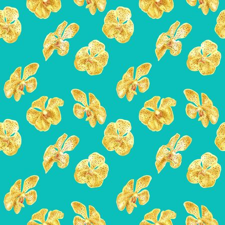 hand drawn watercolor floral tropical seamless pattern with yellow orchid flower on turquoise background. design for cloth, wrapping paper, wedding, invitation card