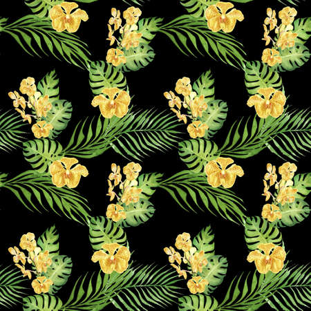 hand drawn watercolor floral tropical seamless pattern with yellow orchid flower and green monstera and palm leaves on black background. design for cloth, wrapping paper, wedding, invitation card Фото со стока