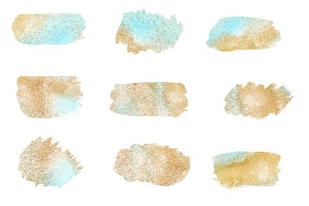 Hand drawn Gold Texture Paint Stain Illustration. watercolor brush stroke set isolated on white background. Design element for greeting card, wedding invitation, banner, wallpaper and scrap booking