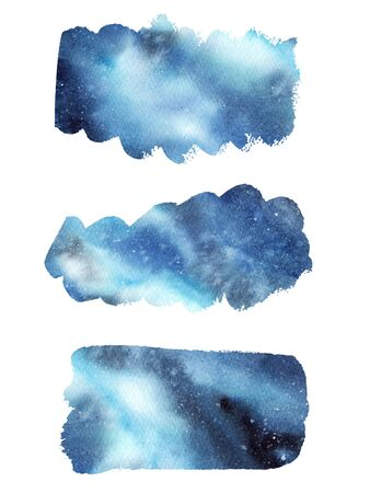 Hand painted abstract Watercolor Wet blue Outer space and stars Brush stroke set isolated on white Background. Watercolor wash. Design for invitation, greeting card, wedding. empty space for text