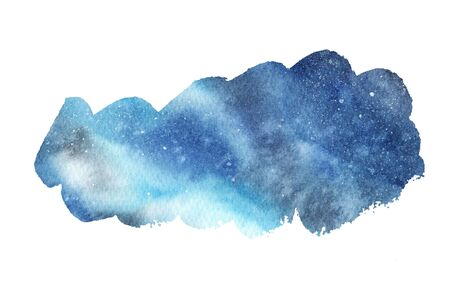 Hand painted abstract Watercolor Wet blue Outer space and stars Background. Watercolor wash. Brush stroke isolated on white. Design for invitation, greeting card, wedding. empty space for text Stock fotó