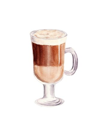 Hand painted Cup of Coffee Latte. Glass of chocolate mocha coffee isolated on white background. Watercolor Illustration. Design for cooking site, menus, books, magazine. Stock Photo