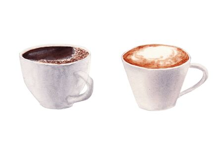 Hand painted Set with Cup of Coffee, cappuccino and chocolate mocha coffee isolated on white background. Watercolor Illustration. Design for cooking site, menus, books, magazine. Stock Photo