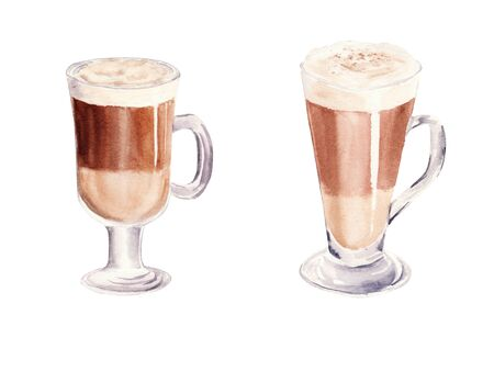 Hand painted Set with Cup of Coffee Latte and Glass of chocolate mocha coffee isolated on white background. Watercolor Illustration. Design for cooking site, menus, books, magazine.