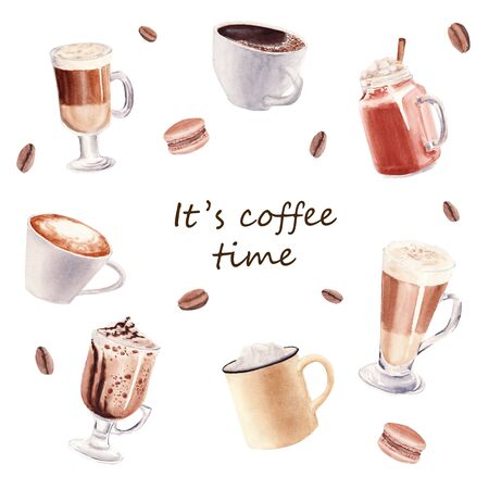 Hand painted Set with Cup of Coffee Latte, cocoa and Glass of chocolate mocha coffee isolated on white background. Watercolor Illustration. Design for cooking site, menus, books, magazine.