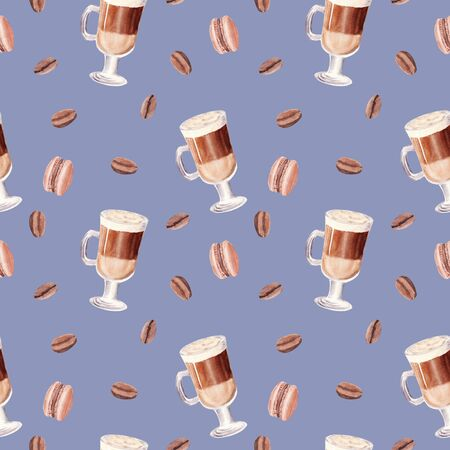 Hand painted Cup of Coffee Latte seamless pattern on blue background. Glass of chocolate mocha with macaroon and coffee beans. Watercolor Illustration. Design for cooking site, menu, book, magazine.