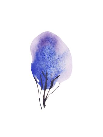 Hand painted blue watercolor Winter tree isolated on white. Snow covered plants sketch. element for design greeting card, invitation, wrapping paper Stock Photo