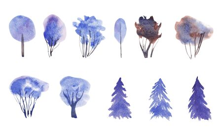 Hand painted blue watercolor Winter Set of conifers and evergreen trees isolated on white. Snow covered plants sketch. element for design greeting card, invitation, wrapping paper Stock Photo