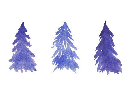 Hand painted blue watercolor Winter Set of evergreen trees isolated on white. Snow covered plants sketch. element for design greeting card, invitation, wrapping paper Stock Photo