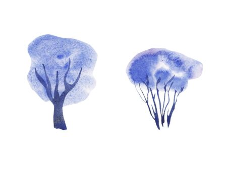 Hand painted blue watercolor Winter Set of trees isolated on white. Snow covered plants sketch. element for design greeting card, invitation, wrapping paper