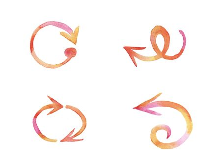 Orange and pink watercolor hand painted brush stroke arrows collection isolated on white background. elements for design banner, poster, web site