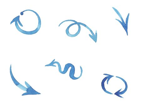 Blue watercolor hand painted brush stroke arrows collection isolated on white background. elements for design banner, poster, web site