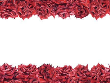 Hand drawn  border frame with red roses seamless pattern isolated on white background. Element for design greeting card, St. Valentine day, wedding invitation, empty spase for text. Stock Photo