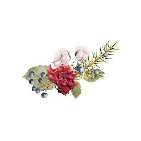 Hand Drawn  winter bouquet with Red Rose, cotton plant and juniper isolated on white background. Design for greeting card, wedding invitation, birthday, Valentines Day, mothers day Stock Photo