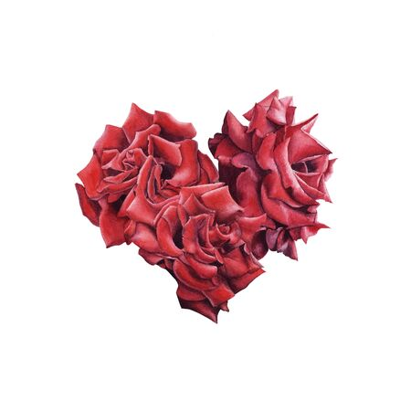 Hand Drawn  Red Rose bouquet heart shape isolated on white background. Design element for poster, greeting card, wedding invitation, birthday, Valentines Day, mothers day Stock Photo