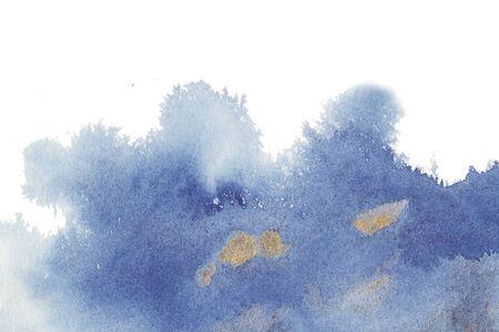 Or, Navi, bleu classique, fond de texture aquarelle avec taches de pinceau humides, traits. Lavis à l'aquarelle. Cadre artistique abstrait, espace vide pour le texte. Toile de fond dégradé acrylique peint à la main.