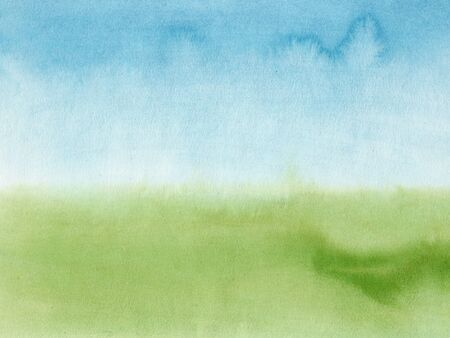 Blue and green watercolor texture background with wet brush stains, strokes. Watercolor wash. Abstract artistic frame, empty space for text. Acrylic hand painted gradient backdrop. 版權商用圖片