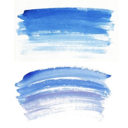 Hand painted abstract Watercolor Wet blue brush stroke set isolated on white background. Abstract painting. design for invitation, greeting card, wedding. empty space for text