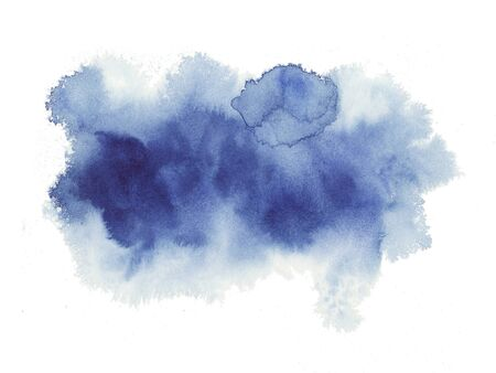 Hand painted abstract Watercolor Wet blue brush stroke isolated on white background. Abstract painting. Watercolor Wash. empty space for text Imagens