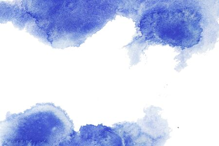 Navi, classic blue, indigo watercolor texture background with dry brush stains, strokes isolated on white. Abstract artistic frame, empty space for text. Acrylic hand painted gradient backdrop.