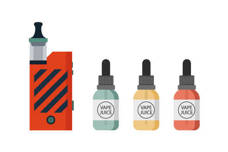 Vaping device and accessory set. Electronic cigarette and bottles with vape liquid. E-juice dropper bottle. Vape bottle with e-liquid. Flat vector illustration isolated on white background.