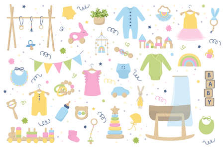 Baby trendy clothes, accessories and wooden toys. Zero waste Nursery collection with body suit, montessori toys, cradle, bassinet. Hand drawn vector illustration set isolated on white background.