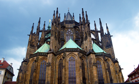 PRAGUE, CZECH REPUBLIC - St. Vitus is a Roman Catholic cathedral Situated in the Prague Castle complex, and the seat of the Archbishop.
