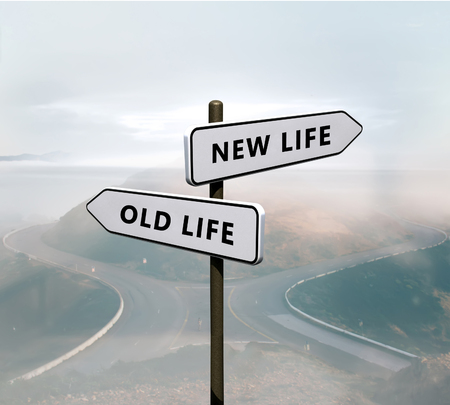 New life vs old life sign Stockfoto