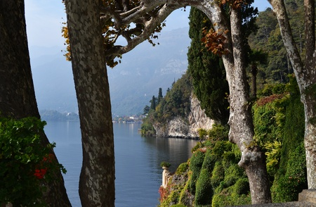 Fascinating view of Lake Como in Northern Italy from Villa Balbianello Stock Photo