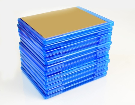 Pile of Blu Ray disc boxes isolated on white background photo