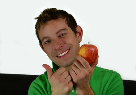 healty living: Thumb up on apple or fruits, healty living young man