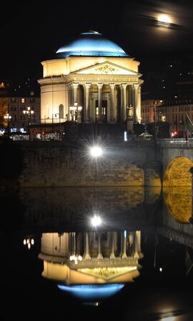 Gran Madre in Turin, at night, reflecting in the river Po photo