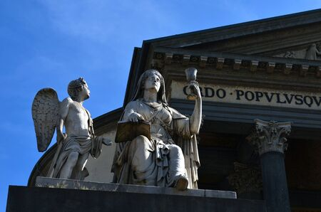 Statue of angels in front of Church Gran Madre in Turin photo