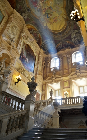 Interior of Royal Palace in Turin, Italy  Baroque architecture