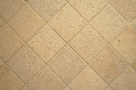 Yellow, beige, light brown travertine stone tiles photo