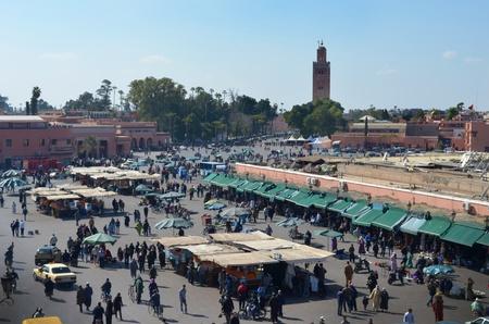 Busy market square Djemaa El Fna in Marrakesh, Morocco   Editorial