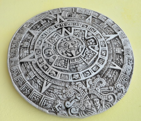 Grey and white traditional Maya calendar  photo