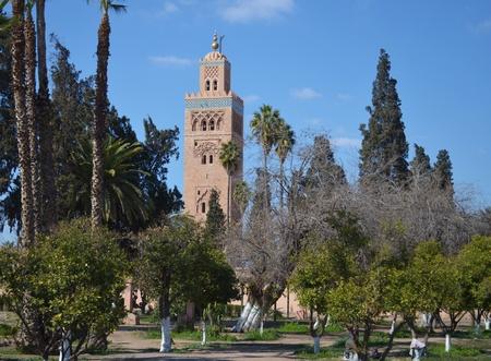 Marrakesh, Morocco  muslim mosque minaret, park and trees