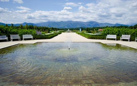 Fountains in the Reggia di Venaria park and gardens, Italy photo