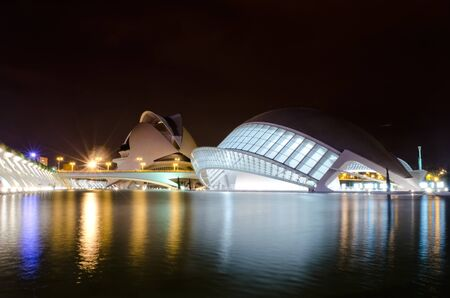 Night photo of the City of Arts and Science in Valencia, Spain