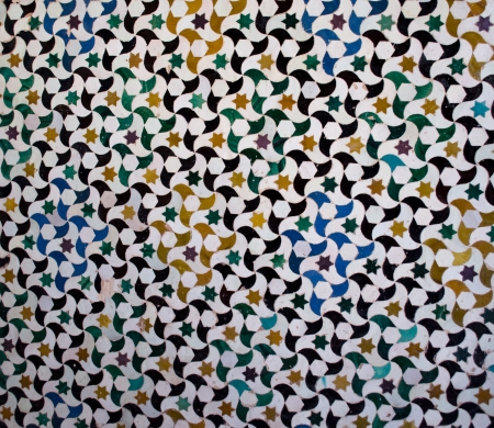 Pattern or texture of ceramic tiles mosaic found in the Alhambra, in Spain