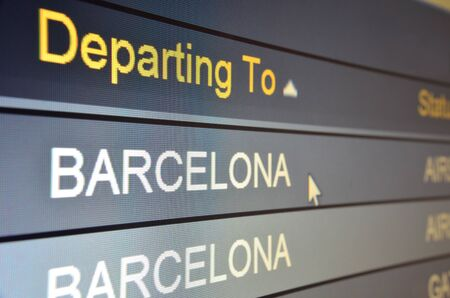 Computer screen closeup of Barcelona flight status
