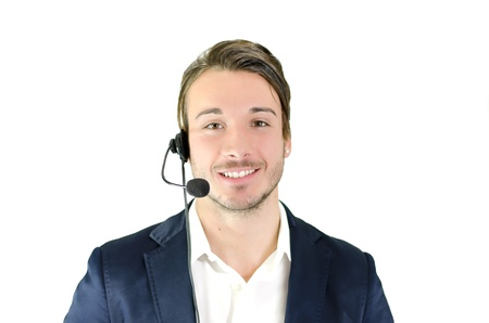 Young man, telemarketing, helpdesk, customer service operator with headseet, isolated Stock Photo - 19483801